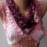 Purple lace and Elegance Shawl / Scarf with Lace Edge by womann