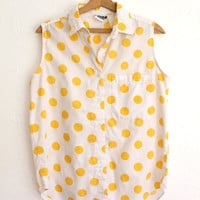 SUMMER SALE Vintage 80s White Cotton Sleeveless Button Up with Yellow Polka Dots