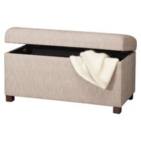 Double Storage Ottoman Bench - Herringbone Tan