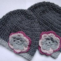 Mom and Baby Crochet Flowered Hat Beanie in Gray