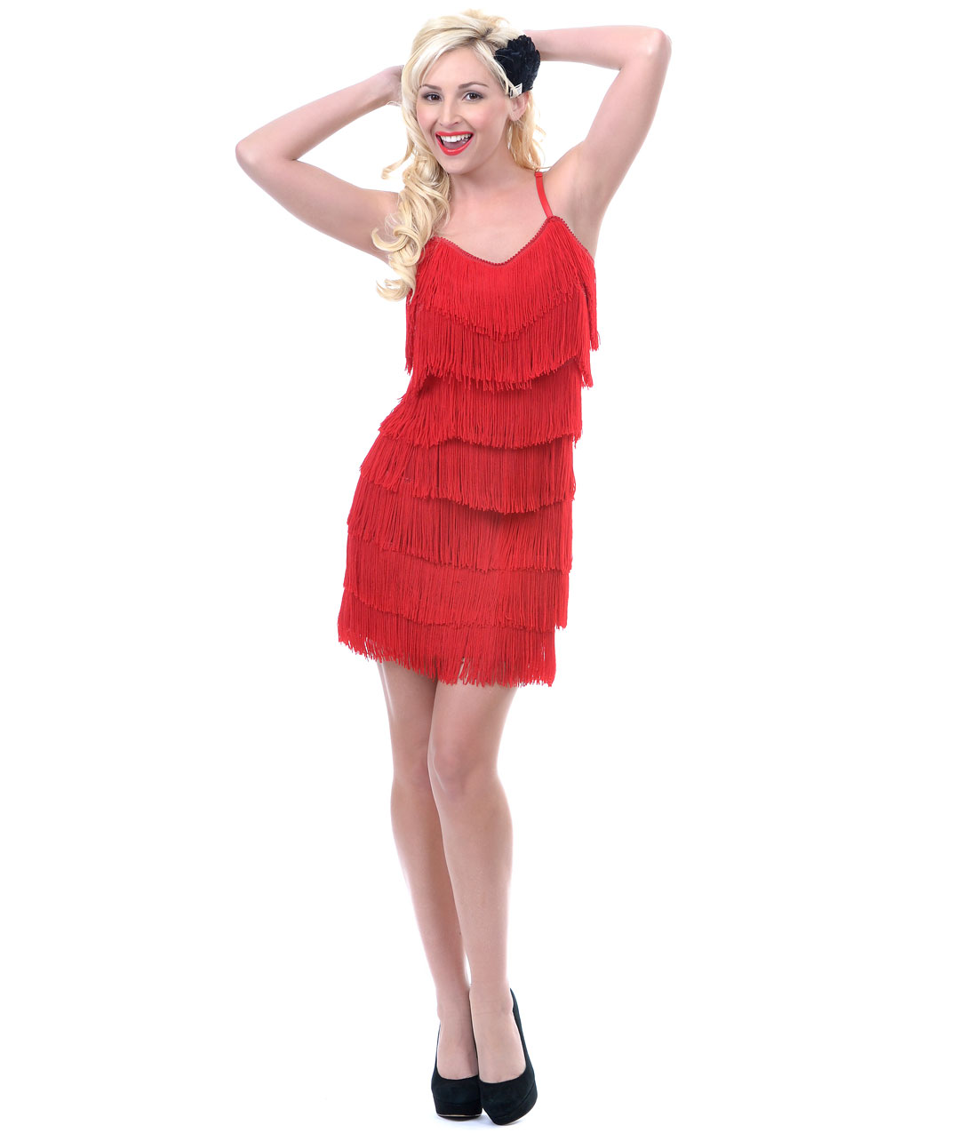 1920s Style Red Fringe Flapper Dress - from Unique Vintage