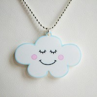 Cute Cloud Acrylic Necklace - Kawaii Childrens Jewellery - Flossy The Cloud A Hoobynoo World Character