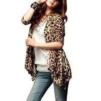 Allegra K Women Leopard Pattern Front Opening Long Sleeve Autumn Coat Beige Coffee XS