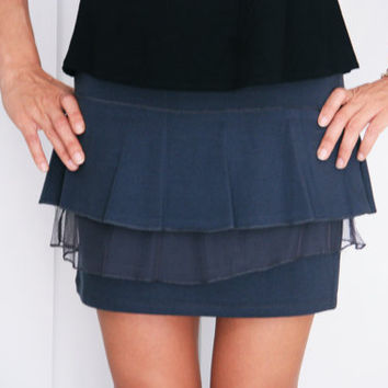 Funky ruffle mini skirt,  Grey cotton Skirt