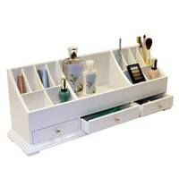 "Amazon.com: Large Personal Organizer with Drawers (White) (9""H x 24""W x 6""D): Home & Kitchen"