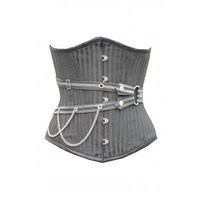 ND-084 - Black Underbust Corset with Buckle and Chain Detail