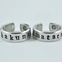 hakuna matata - Cuff Rings Set, Hand Stamped, Shiny Aluminum Ring, Lion King Inspired, Newsprint Font