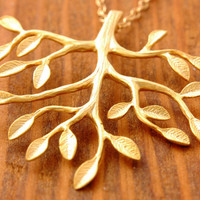 Gold Tree Necklace - branch necklace, gold tree pendant, family necklace, tree of life necklace, nature necklace