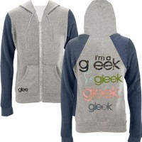 Glee Hand Heather Gray & Navy Juniors Hooded Sweatshirt Hoodie
