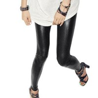 Allegra K Lady Elastic Waist Faux Leather Skinny Legging Tights Black