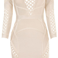 Clothing : Bandage Dresses : 'Selena' Nude Mid Sleeve Bandage Dress