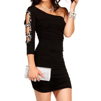 Black Embellished Sleeve Dress