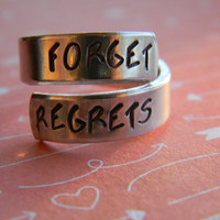 FORGET REGRETS spiral hand stamped ring