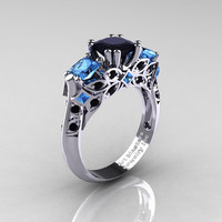 Classic 18K White Gold Three Stone Princess Black Diamond Blue Topaz Solitaire Ring R500-18KWGBTBD