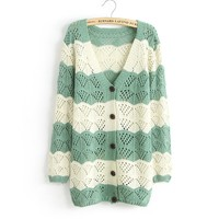Spell Color Long-Sleeved V-Neck Cardigan Jacket