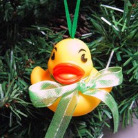 Baby Rubber Ducky Christmas Ornament with Green Sheer Ribbon Bow