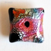 Pink and Blue Focal Bead with Silver and Orange on Black Polymer Clay