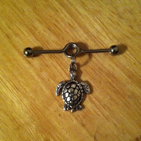 Industrial Barbell - Sea Turtle Industrial Barbell - Industrial Piercing, Turtle Barbell