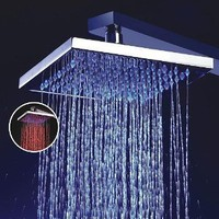 8 Inch Single Function Temperature Sensitive Rainfall LED Shower Head, Chrome