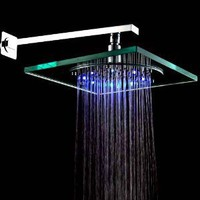 8 Inch Wall Mount Square Rainfall Showerhead with Build-in LED Light, Glass with Chrome Finish