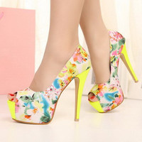 funshop — Flora Print High Heels with Peep Toe Design022