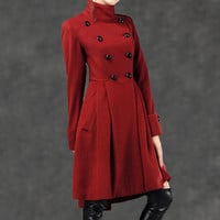 red coat winter coats for women 100 cashmere  jacket by YL1dress