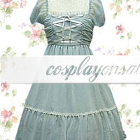 Lolita Costumes Light Blue Short Sleeves Bandage Cotton Classic Lolita Dress [T110175] - $73.00