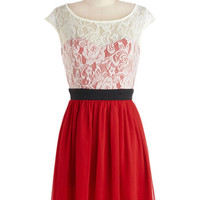 ModCloth Mid-length Cap Sleeves A-line Shortcake Story Dress in Red