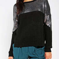 Sparkle & Fade Foil Colorblock Sweater