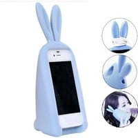 3D Cute Silicone Animal Rabbit Ear Case Stand Cover for iPhone 4 4S Blue:Amazon:Cell Phones & Accessories