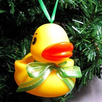 Mama Rubber Ducky Christmas Ornament with Green Ribbon bow and Hanger