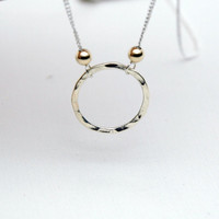 Sterling Silver Hammered Karma Circle Necklace with Gold Filled Beads - Simple Modern Minimalist Jewelry - Silver Filled Delicate Chain