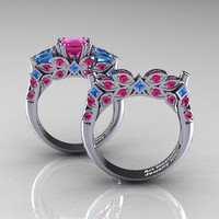 Classic 14K White Gold Three Stone Princess Pink Sapphire Blue Topaz Solitaire Ring Wedding Band Set R500S-14KWGBTPS