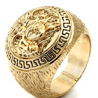 King Ice Mens Medusa Yellow Gold Ring
