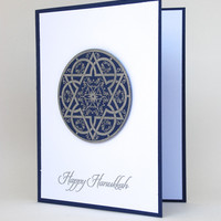 Star of David Happy Hanukkah Handmade Greeting Card Silver Navy White