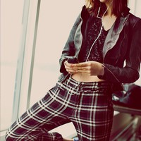 Free People Womens Plaid Crinkle Trouser -