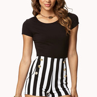 High-Waisted Nautical Striped Shorts | FOREVER 21 - 2002246134