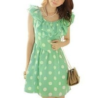 Amazon.com: Allegra K Women Two Layers Ruffled Collar Scoop Neck Dots Mini Dress Green S: Clothing