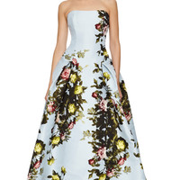 Floral Printed Satin Jacquard Stapless Gown by Carolina Herrera - Moda Operandi