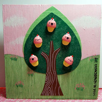 Kawaii Cupcake Tree Wall Hanging  by The Happy by TheHappyAcorn