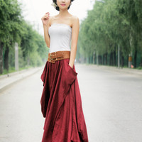 Maxi Skirt in Red Summer Linen Skirt
