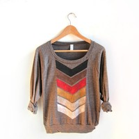 Supermarket: Geo Arrows - Hand Stenciled Scoop Neck Lightweight Sweater in Heather Brown from Alyssa Zukas