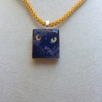 Scrabble Tile Pendant Necklace Animal Black Cat
