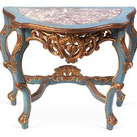 One Kings Lane - This Week's Vintage Mix - Hand-Painted Italian Demilune Table