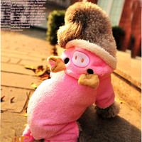 Super Cute! Pink Pig Fleece Pet Dog Clothes Apparel Outfits Jumpsuit Hoodie