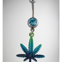 14 Gauge Multi Color Pot Leaf Belly Button Ring