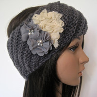 Charcoal Grey Knit Ear Warmer Headband Head Wrap  with Ivory and Grey Shabby Flowers and Pearl and Rhinestone Accents