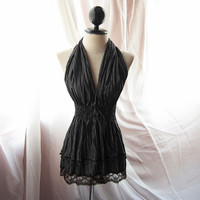 Great Gatsby Black Steampunk Gothic Moulin Rouge Cirque Gypsy French Era Tunic Halter Velvet Trim with Ancient Coins Bohemian Dress y Top