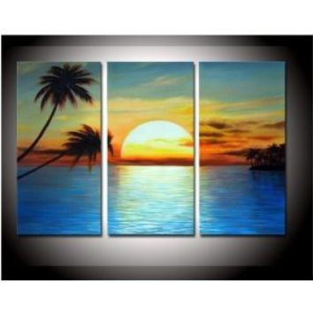 hand-painted promotion free shpping framed on the back oil wall art Coconut island sun home decoration abstract Landscape oil painting on canvas 10x20inchx3 3pcs/set: Amazon.ca: Home & Kitchen