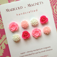 summer flowers, strong neodymium magnets, set of 8, pink flowers, roses, dorm decor, hostess gift, gardener, magnetic bulletin board